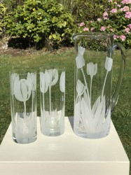 Tulip Pitcher and Glasses glass art by cynthia myers
